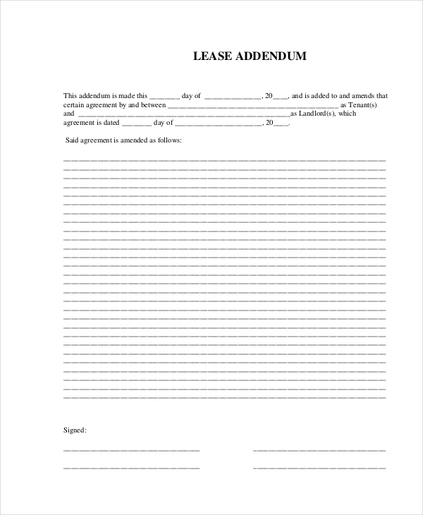 lease rental agreement addendum form