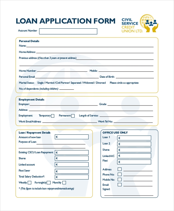 Marvelous Loan Application Form  Loan Form Sample