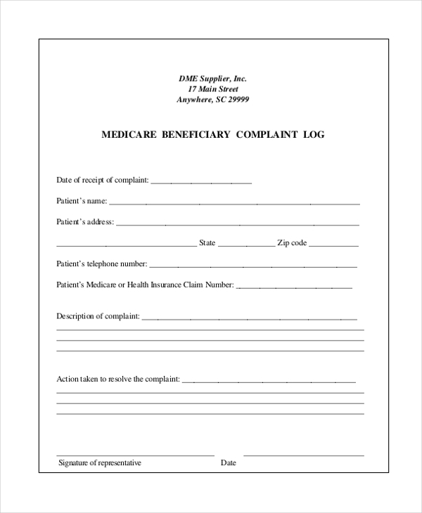 Sample Medicare Complaint Form - 9+ Free Documents In Pdf