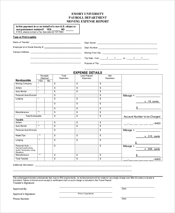 Sample Expense Report Form   Free Documents In Excel Pdf