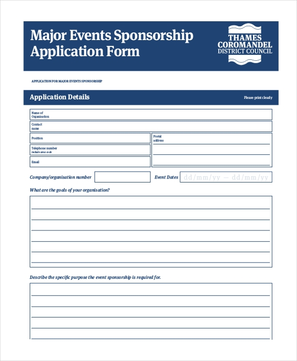 Sample Sponsorship Application Form   Free Documents In Pdf