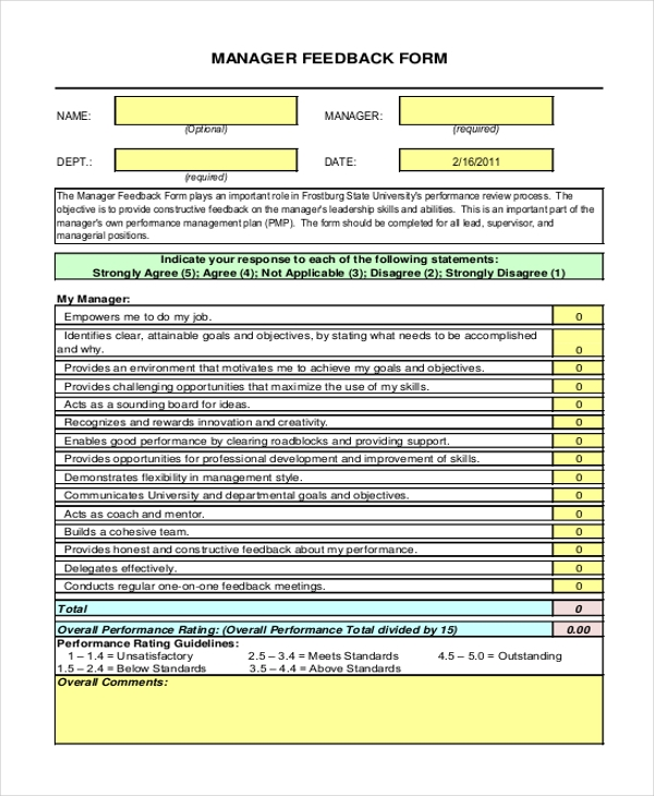 Sample Feedback Forms - 26+ Free Documents In Word, Pdf