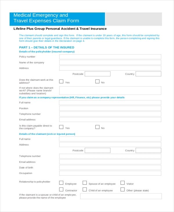 Sample Travel Expense Claim Form   Free Documents In Word Pdf