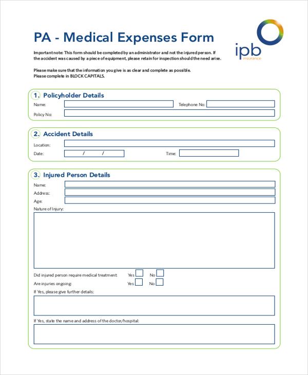 medical expense form