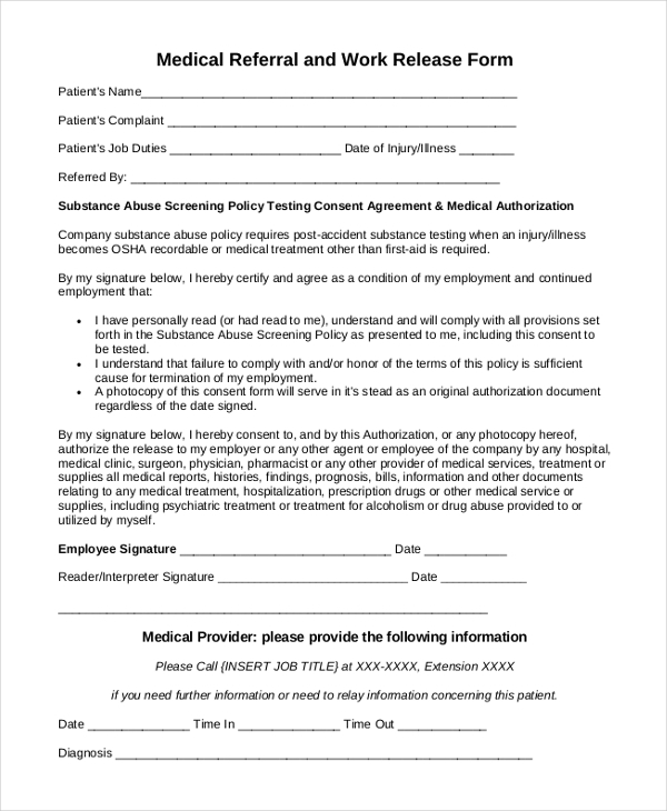 medical work release form