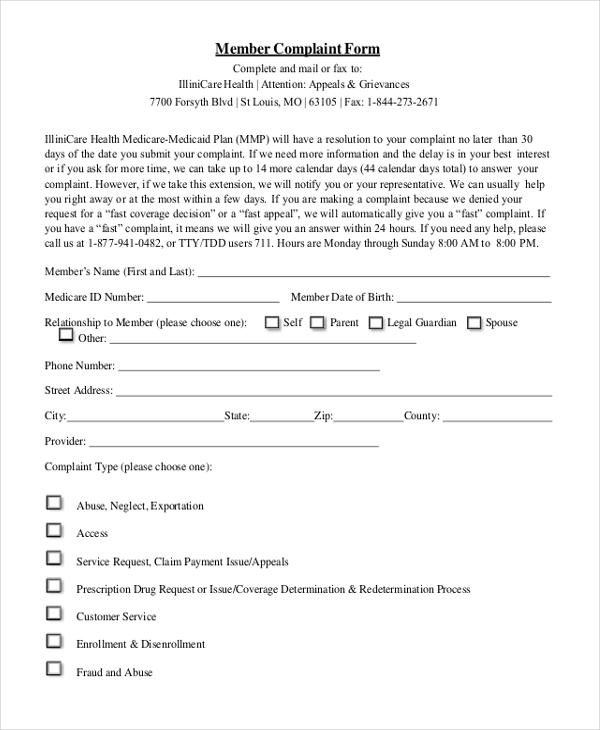 medicare member complaint form