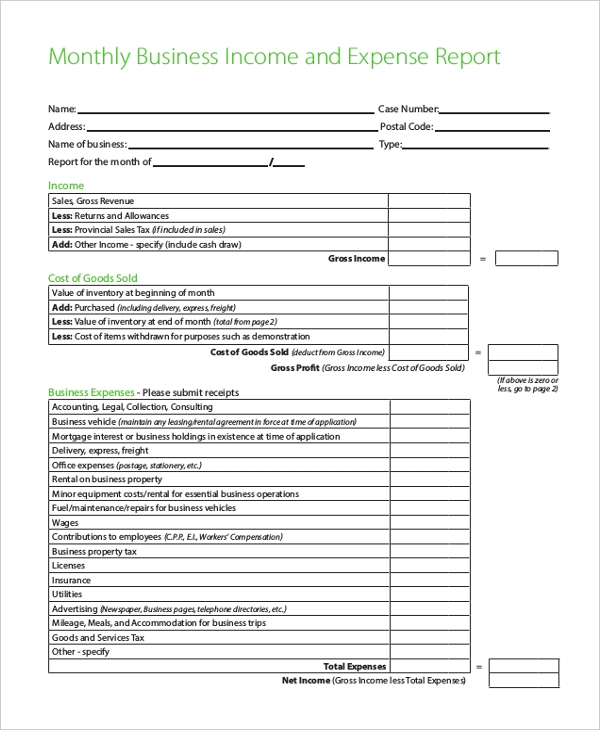 Sample business expense report form 8 free documents in pdf sample monthly business income and expense report form wajeb Choice Image