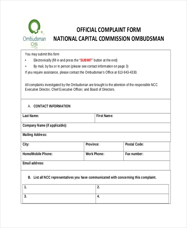 Sample official complaint forms 8 free documents in pdf national capital commission official complaint form ccuart Choice Image