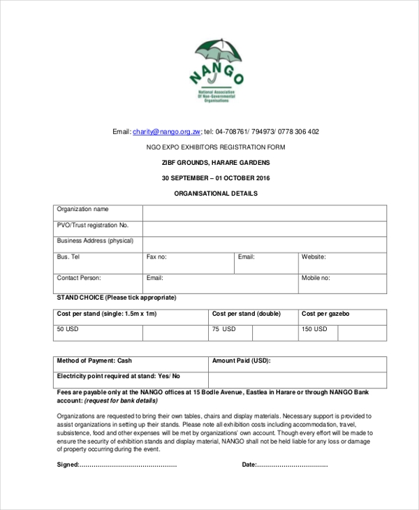 Sample Ngo Registration Form   Free Documents In Word Pdf