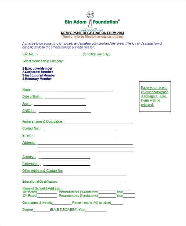 Sample ngo registration form 8 free documents in word pdf ngo membership registration form thecheapjerseys Gallery