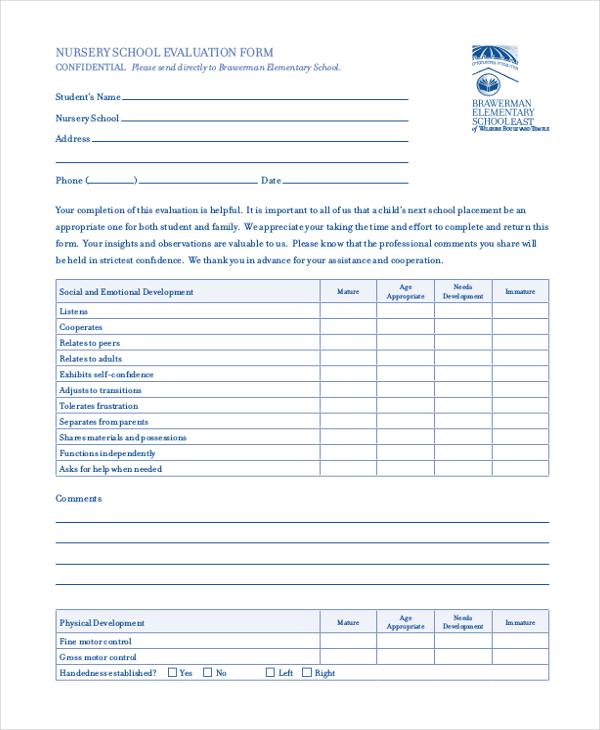 nursery school evaluation form