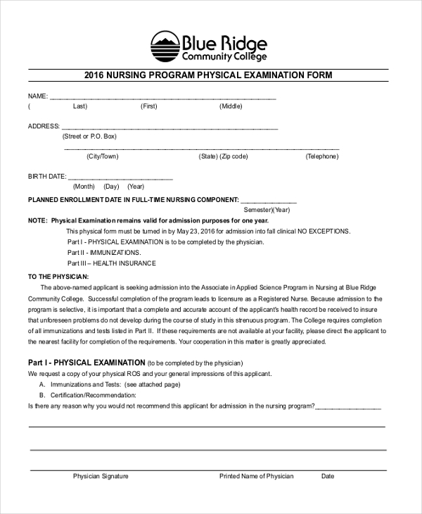 nursing program physical examination form