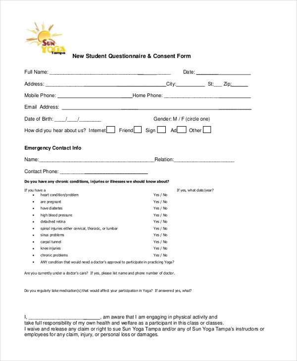 new student questionnaire consent form