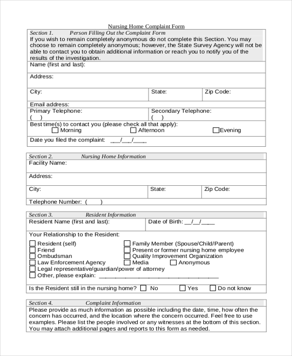 Sample Medicare Complaint Form   Free Documents In Pdf