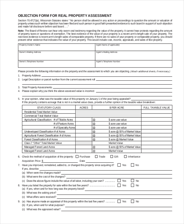 objection form for real property assessment
