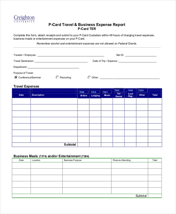 p card travel business expense report