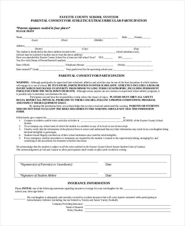 parental consent for athletic participation