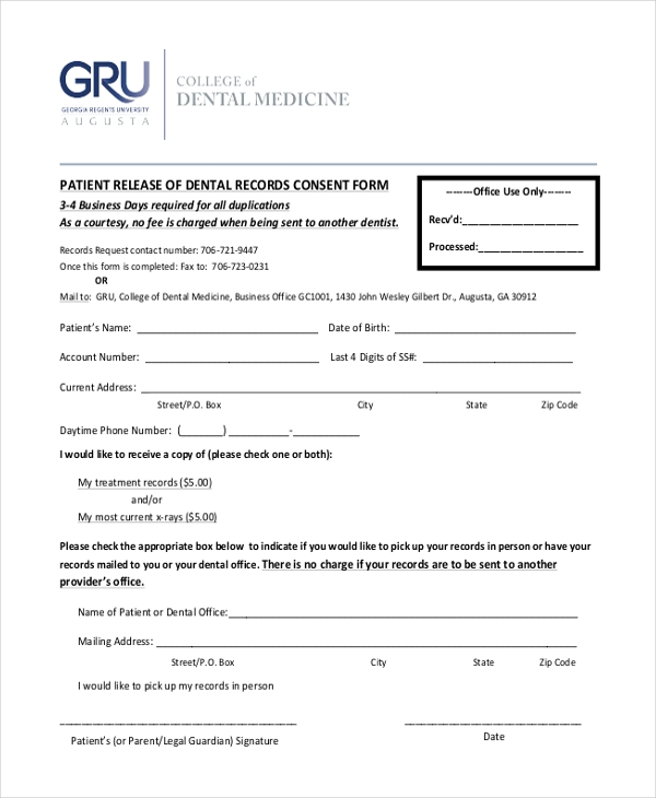 patient dental records consent form