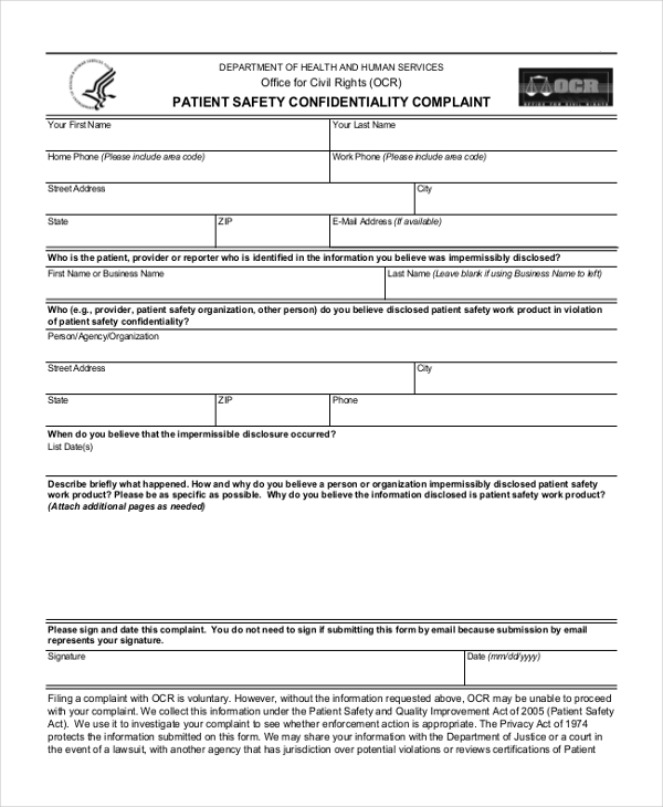 patient safety confidentiality complaint