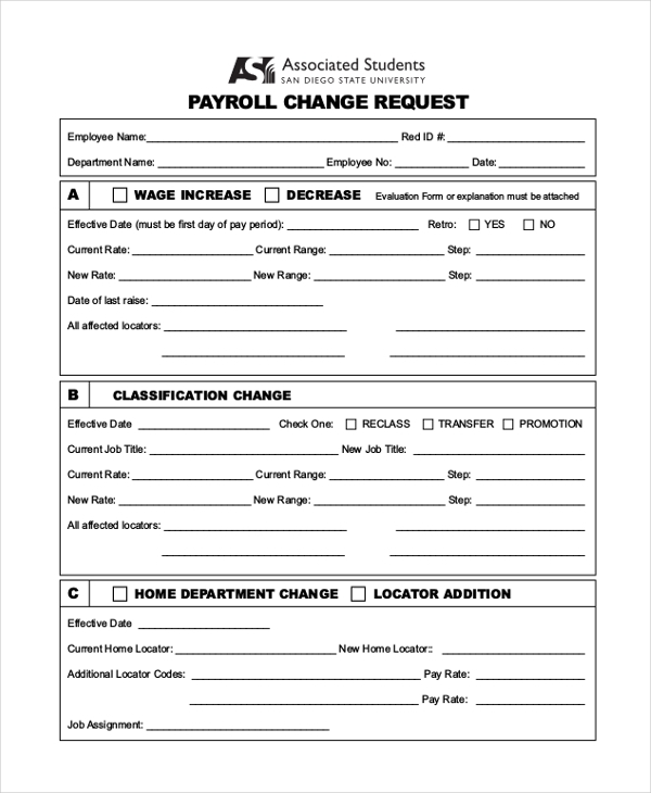 Sample payroll change form 10 free documents in pdf for Payroll change notice form template