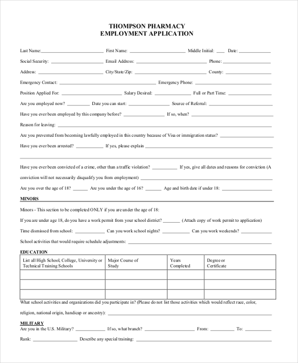 Sample Pharmacy Job Application Form   Free Documents In Pdf