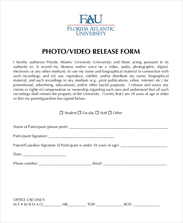 Photo Release Form  Release Form Talent Free Talent Release