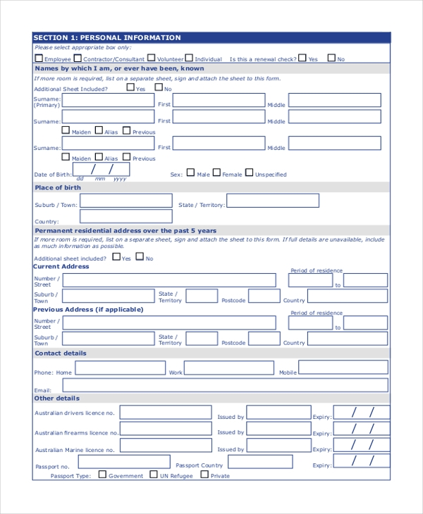 police checking service informed consent form