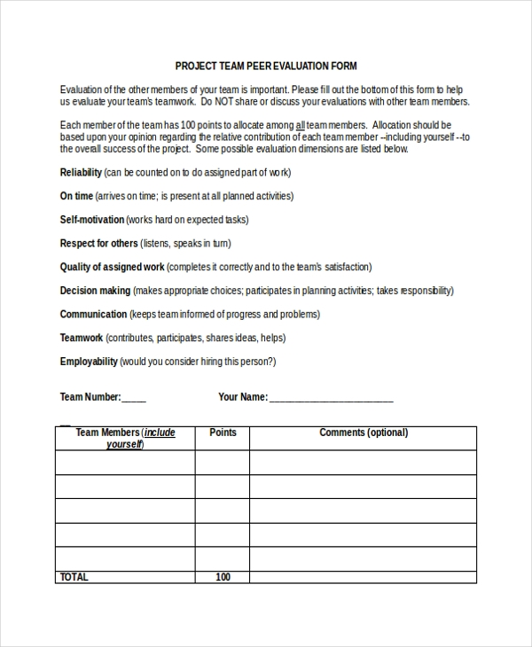 Sample Peer Evaluation Form   Free Documents In Word Pdf