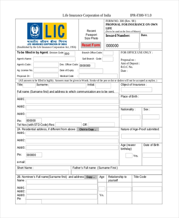 Insurance Proposal Form Template 44billionlater