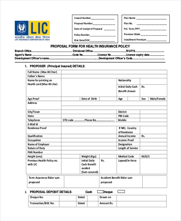 Sample Lic Proposal Form   Free Documents In Pdf