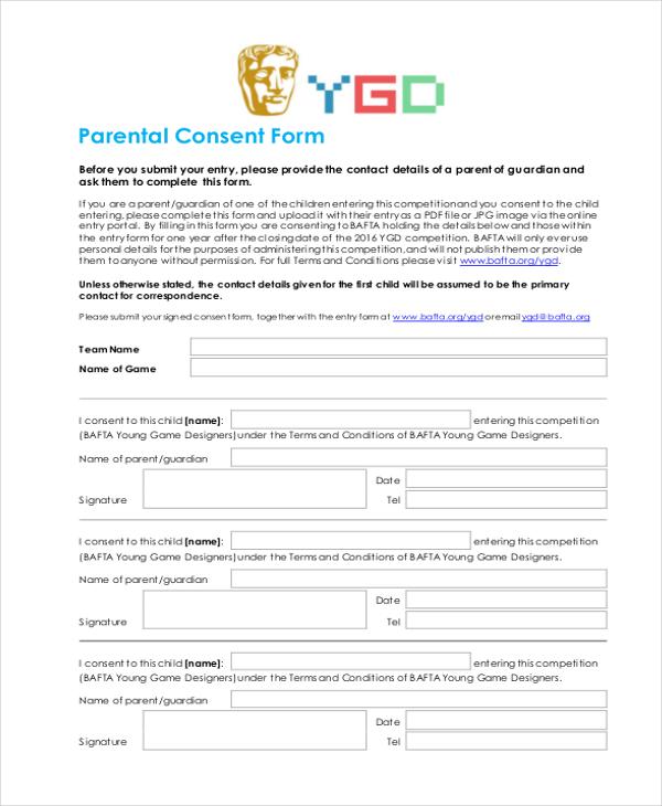 parental consent form