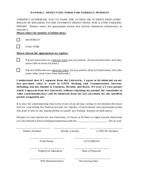 parking permit payrolle deduction form