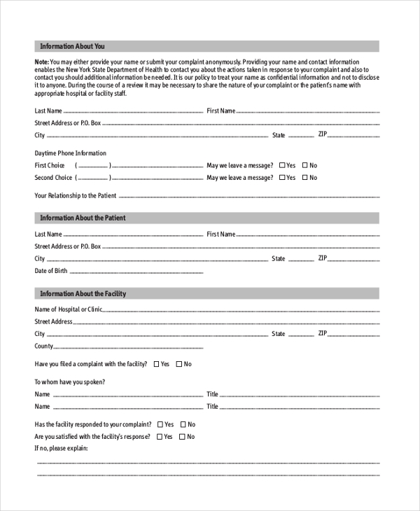 Sample Patient Complaint Form   Free Documents In Pdf