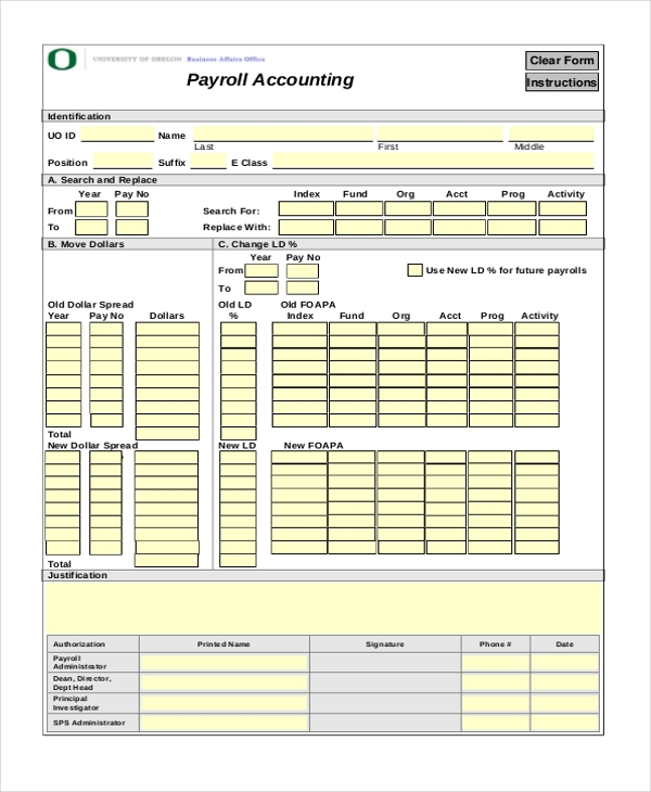 payroll accounting form
