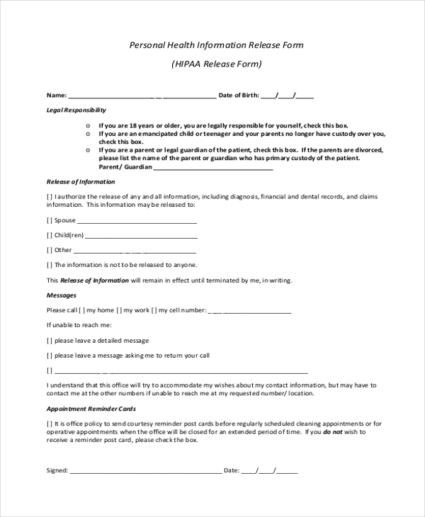 Sample HIPAA Release Form 10 Free Documents in PDF – Personal Information Release Form
