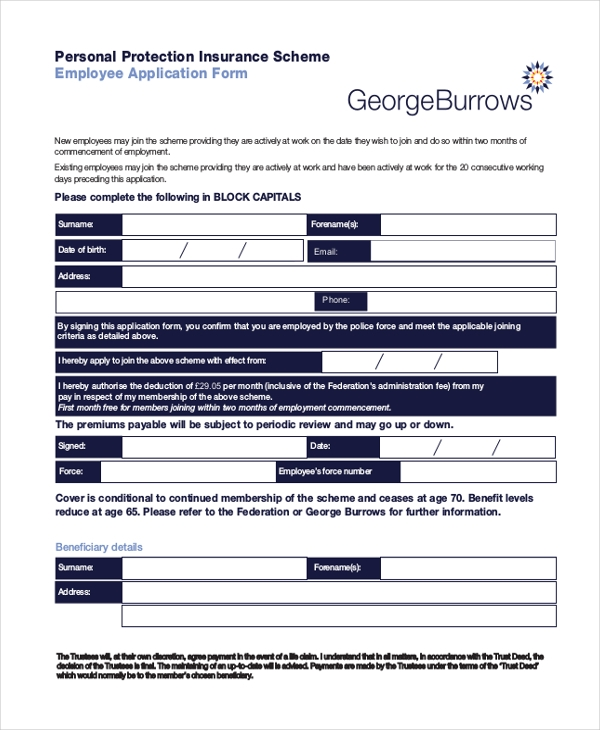 Sample Employment Application Forms Printable Blank Application For