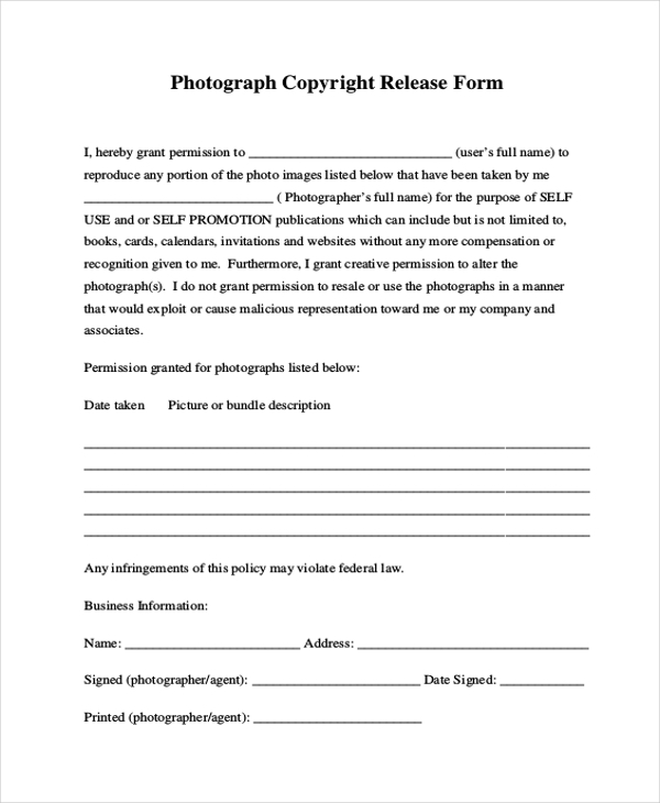 photograph copyright release form