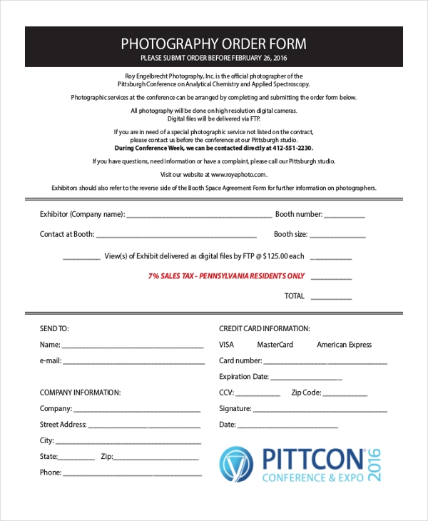 free photography order form template