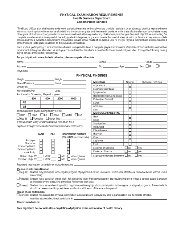 physical examination requirement form