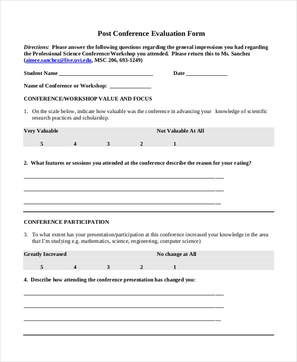 post conference evaluation form