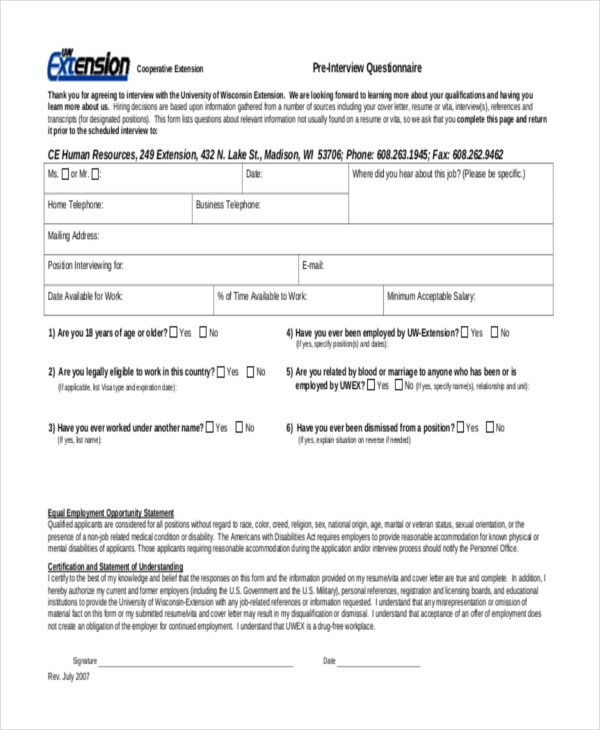 Sample Interview Questionnaire Form 8 Free Documents In