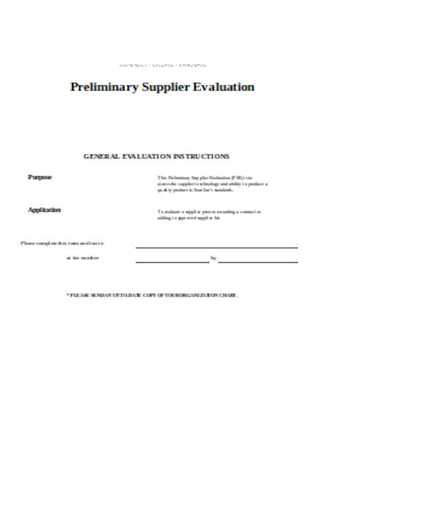 preliminary supplier evaluation form