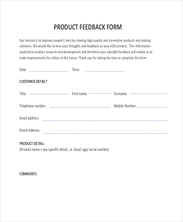 product feedback form