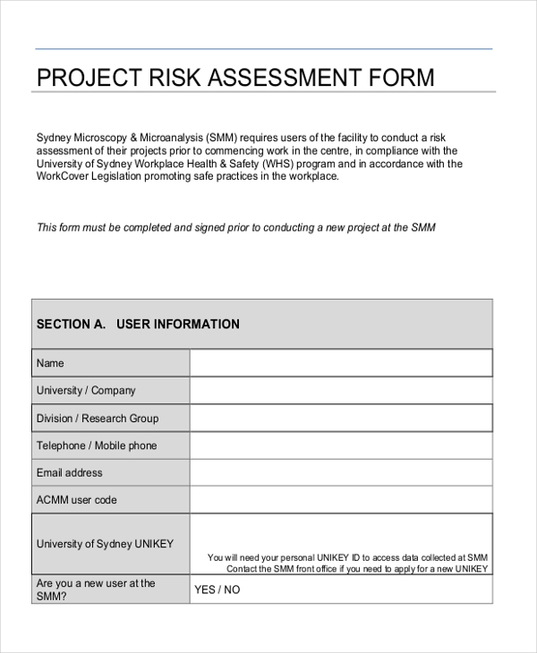 project risk assessment form1