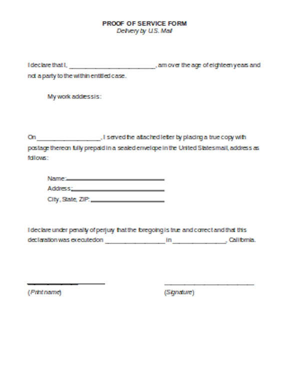 proof of service form1