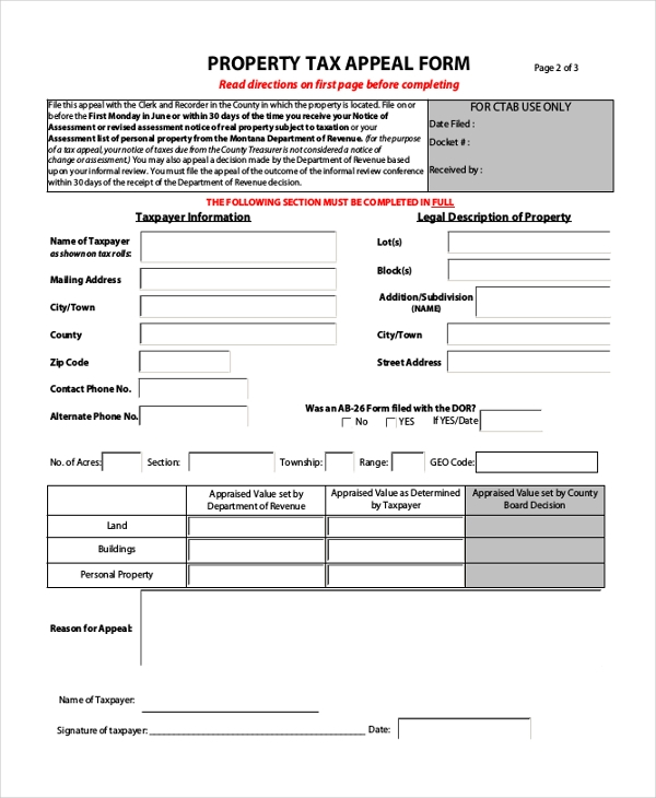 Property Tax Assessment Form