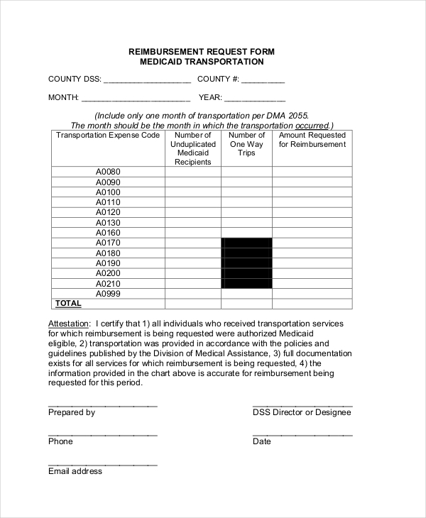 reimbursement request form medicaid transportation