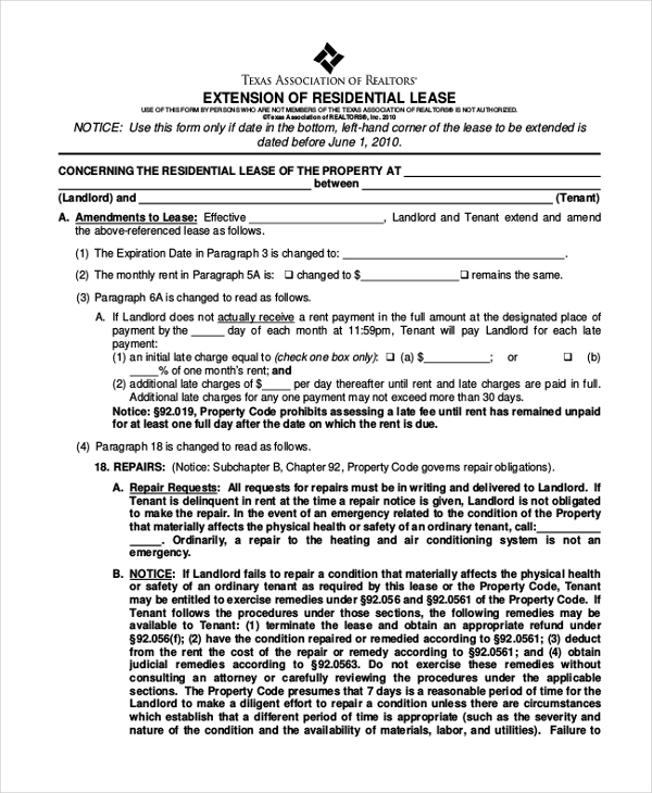 Lease Extension Forms   Free Documents In Pdf
