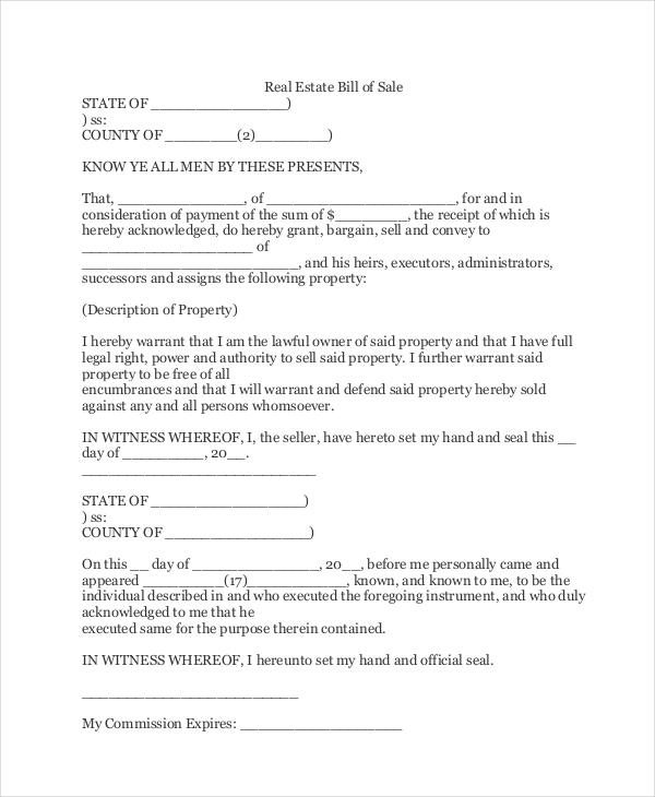 real estate bill of sale form1
