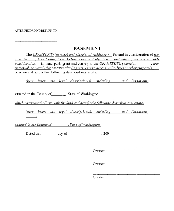 real estate easement form